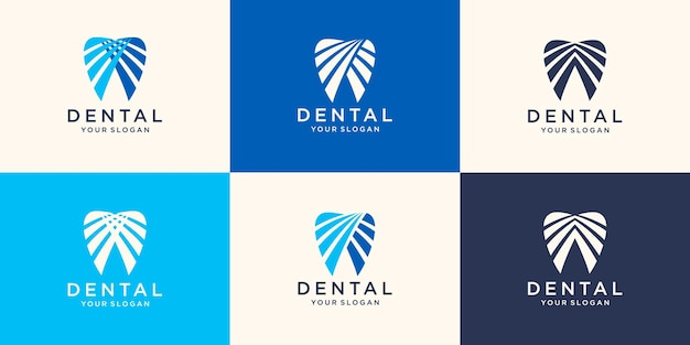Set van abstracte pictogrammen tekens en symbolen met tand voor tandheelkundige kliniek logo concept in blauw