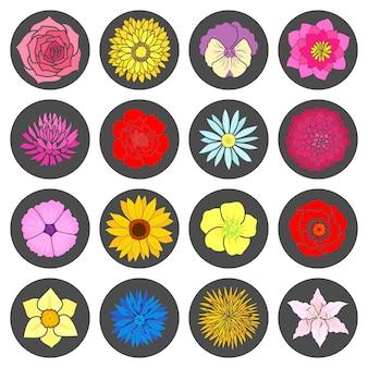 Set van abstracte platte bloemen