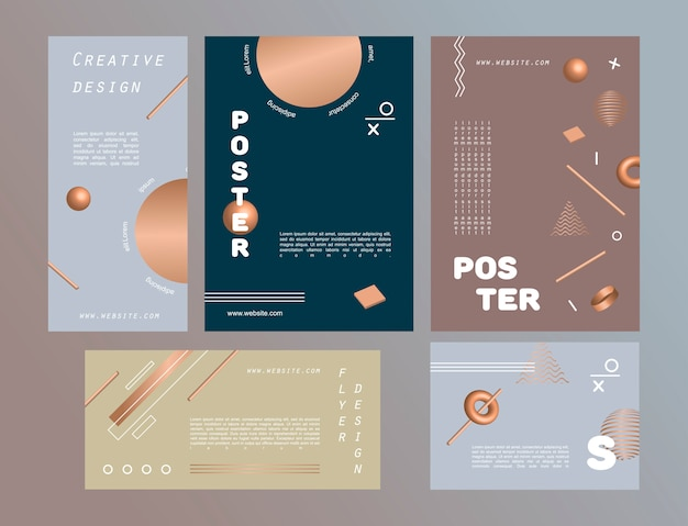 Set van abstracte posters voor ontwerp versierd met geometrische figuren en gouden 3d vormen.