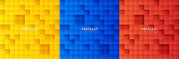 Set van abstracte reliëf gele, blauwe, rode papieren vierkante achtergrond.
