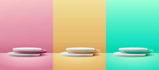 Set van abstracte ronde display voor productpresentatie