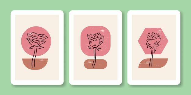 Set van abstracte roze bloem poster illustratie