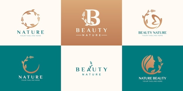 Set van abstracte schoonheid natuur logo-ontwerp
