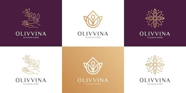 Set van abstracte schoonheidsbloem, olijfolie, tak en vrouwelijke logo-ontwerpcollectie.
