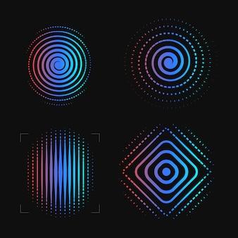 Set van abstracte spiraal. vingerafdruksjabloon. biometrisch, beveiligingssysteemlogotype.