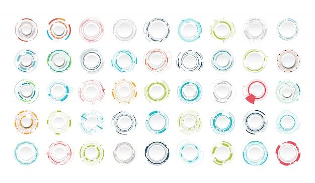 Set van abstracte technologiecirkel.