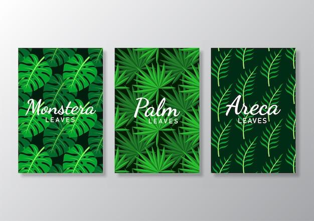 Set van abstracte tropische bladeren poster dekt achtergrond