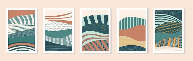 Set van abstracte veldillustratie landschap met kleurrijke textuur posterontwerp telefoonbehang