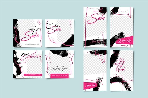 Set van abstracte verhalen en berichten sjabloon