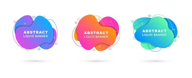 Set van abstracte vloeibare banners. dynamische elementen in de stijl van memphis.