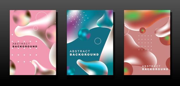 Set van abstracte vloeibare banners
