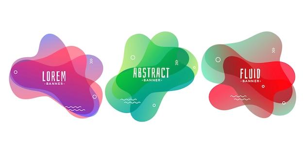 Set van abstracte vloeibare of vloeibare vorm banners