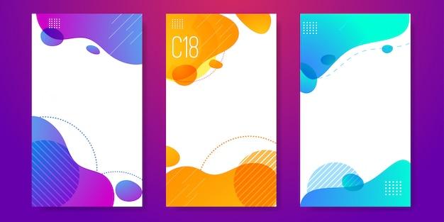 Set van abstracte vloeibare spandoeksjabloon
