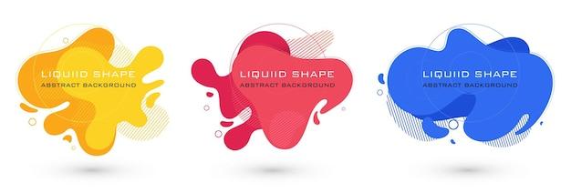 Set van abstracte vloeibare vorm grafische elementen kleurrijke gradiënt vloeistof ontwerpsjabloon voor presenta