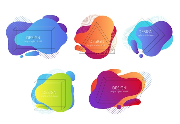 Set van abstracte vloeibare vormen met geometrische frames. trending heldere banners met memphis-elementen.