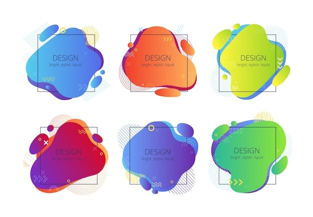 Set van abstracte vloeibare vormen met vierkante kaders. trending heldere banners met memphis-elementen.