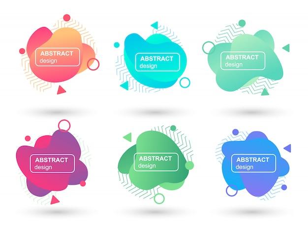 Set van abstracte vloeibare vormen moderne grafische elementen