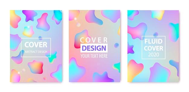 Set van abstracte vloeiende creatieve sjablonen set. geometrisch ontwerp, vloeistoffen, vormen.