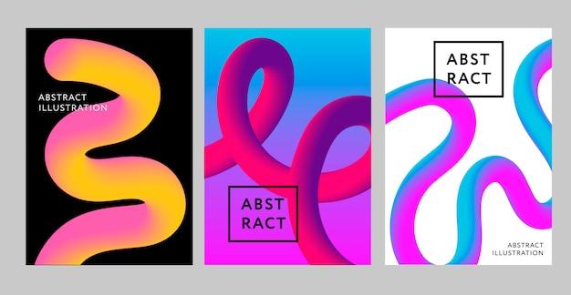 Set van abstracte vloeistof achtergronden