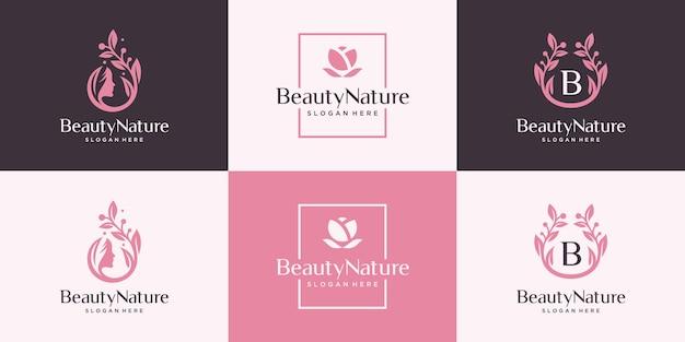 Set van abstracte vrouwelijke logo ontwerpsjabloon