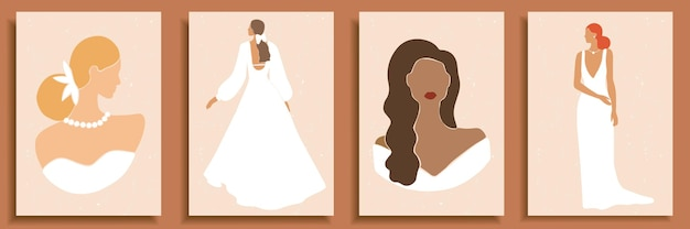 Set van abstracte vrouwelijke vormen en silhouetten. abstracte vrouwenportretten in trouwjurken in pastelkleuren.