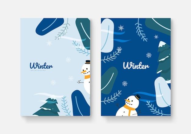 Set van abstracte winter achtergronden voor universele sjabloon. kleurrijke winterbanners met vallende sneeuwvlokken, besneeuwde bomen. winterse taferelen. gebruik voor evenementuitnodiging, kortingsbon, advertentie.
