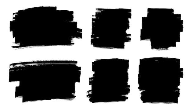 Set van abstracte zwarte penseelstreken