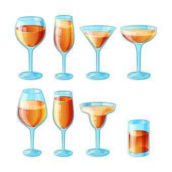 Set van acht handgetekende glazen met zomercocktails met een laag alcoholgehalte en sap