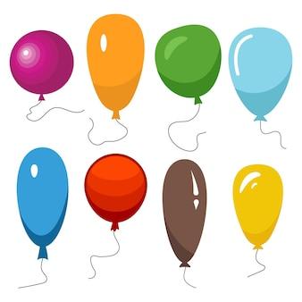 Set van acht kleurrijke ballonnen met een touwtje geïsoleerd op een witte achtergrond. vector illustratie