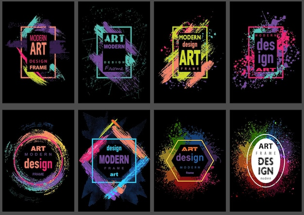 Set van acht moderne vector kunst grafische frames