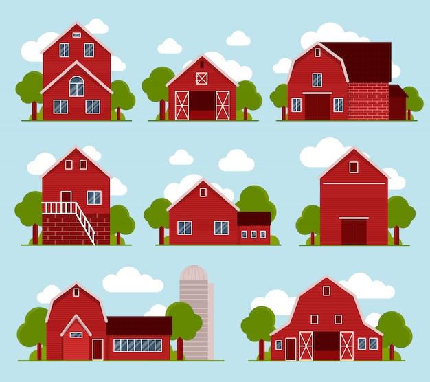 Set van acht schattige boerderijen met groene bomen