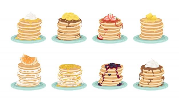 Set van acht soorten pannenkoeken. een stapel gebakken pannenkoeken op de plaat. een heerlijk ontbijt. cartoon afbeelding.