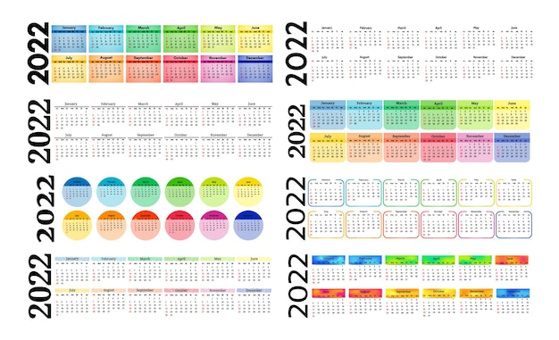 Set van acht verticale kalenders voor 2022 geïsoleerd op een witte achtergrond. zondag tot maandag, zakelijke sjabloon. vector illustratie