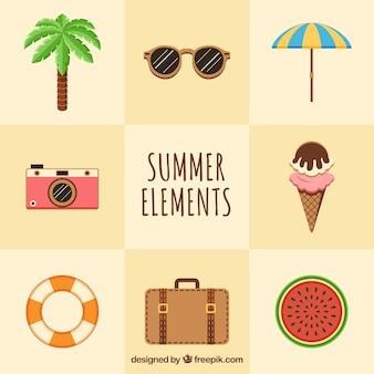Set van acht zomerelementen in platte vormgeving
