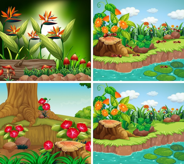 Set van achtergrondscène met natuurthema