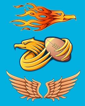 Set van adelaar mascotte en vleugels