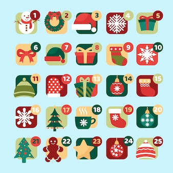 Set van adventskalender pictogrammen in plat ontwerp
