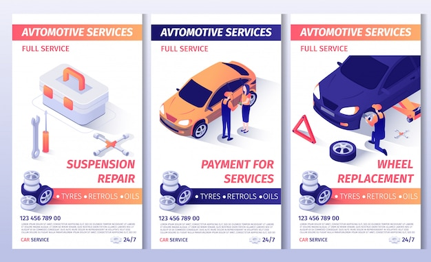 Set van advertentiebrochure voor auto-service