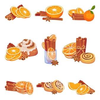 Set van afbeeldingen van kaneelstokjes met plakjes sinaasappelen.