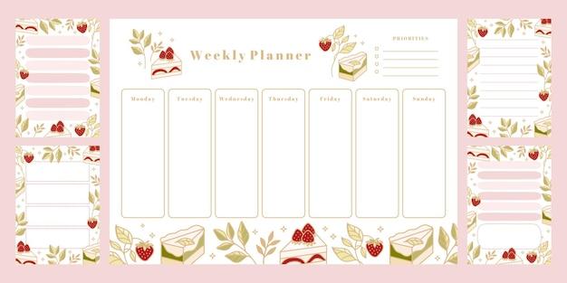 Set van afdrukbare weekplanner, dagelijkse takenlijst, kladblok-sjablonen, schoolplanner
