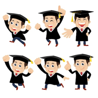 Set van afgestudeerde studentenkarakters in verschillende poses