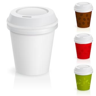 Set van afhaalmaaltijden koffiekopjes
