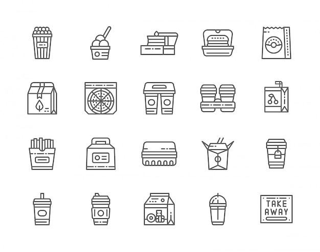 Set van afhaalmaaltijden lijn iconen
