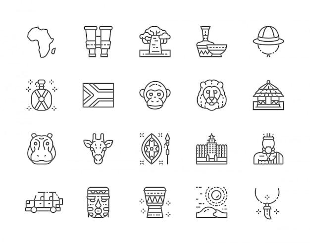 Set van afrika lijn iconen