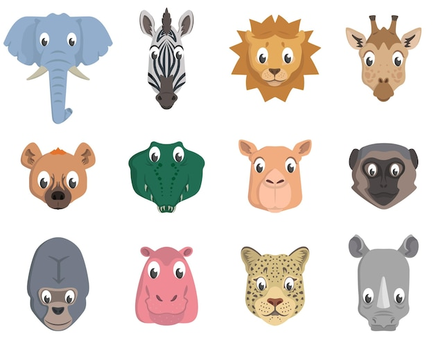 Set van afrikaanse dierenkoppen. wildlife bewoners in cartoon-stijl.