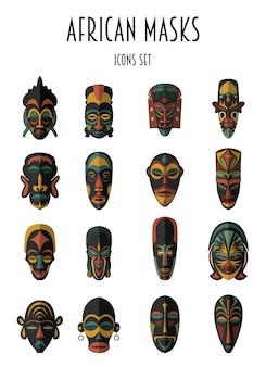 Set van afrikaanse etnische tribale maskers. ritueel symbolen.