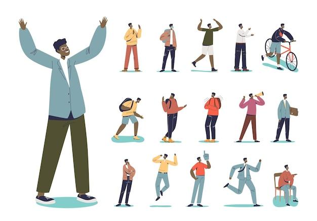 Set van afro-amerikaanse mannen met pak en bril in verschillende levensstijlsituaties en poses: cartoon etnische zakenman rennen, zitten, nadenken, huilen, fietsen. platte vectorillustratie