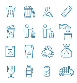 Set van afval pictogrammen met kaderstijl