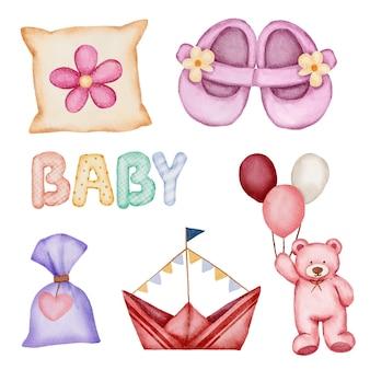 Set van afzonderlijke onderdelen en samenbrengen tot mooie kleding, babyartikelen en speelgoed in aquarelstijl, aquarelillustratie