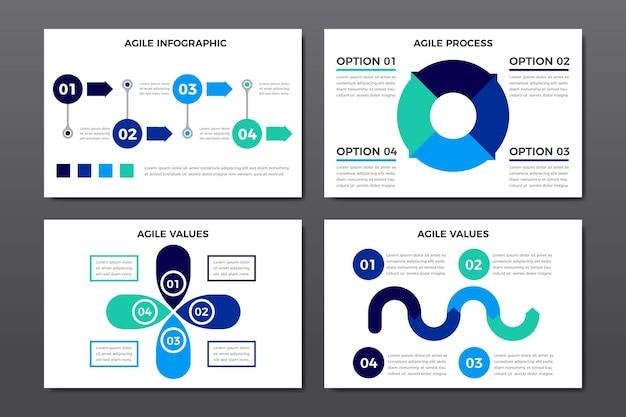 Set van agile afbeeldingen met belangrijke informatie